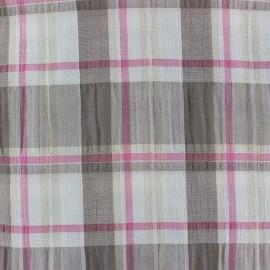 Tissu froissé à carreaux rose x 10cm