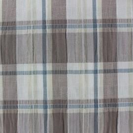 Tissu froissé à carreaux taupe x 10cm