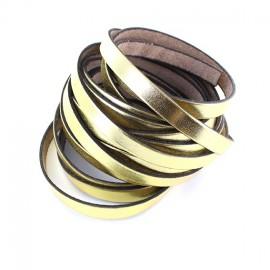 Ruban plat cuir doré x 10 cm