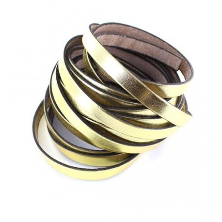 flat leather ribbon x 10cm - golden