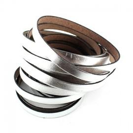 Ruban cuir plat argenté x 10 cm