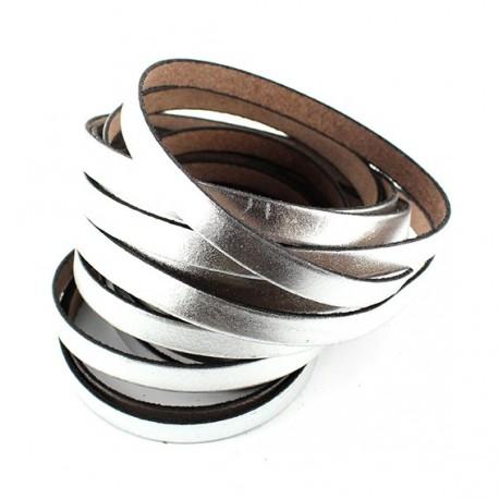 flat leather ribbon x 10cm - silver