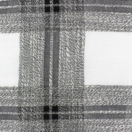 Linen Fabric Madras - black x 10cm