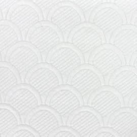 Cloud Quilted Damask Fabric - Ecru x 10cm
