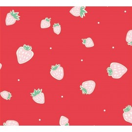 Tissu coton Strawberries Red x 10 cm