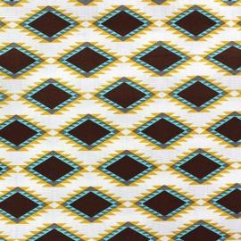 Aztec diamond cotton fabric - brown x 10cm