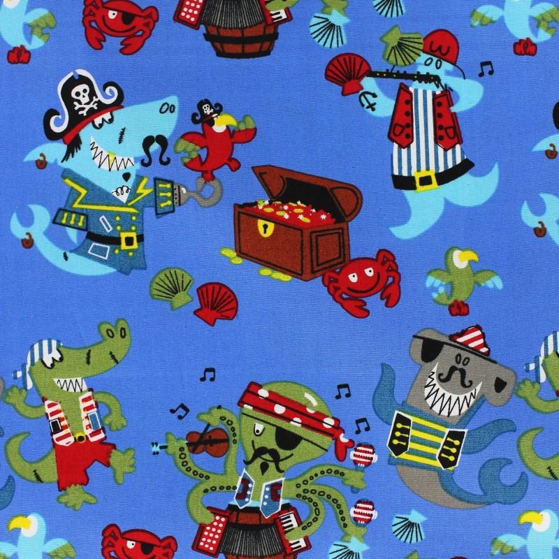 Tissus pas cher 100 coton tissu coton pirate 39 s party bleu for Kids pirate fabric