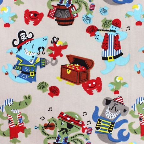 Pirate 39 s party cotton fabric beige x 10cm ma petite for Kids pirate fabric