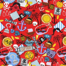 Tissu coton Pirate's treasure rouge x 10cm