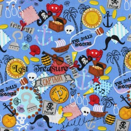 Tissu coton Pirate's treasure bleu x 10cm