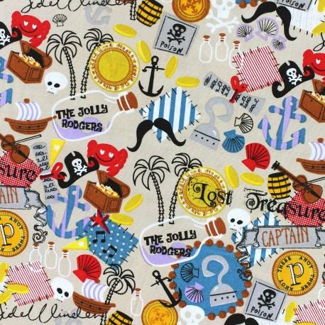 Pirate's treasure cotton fabric - beige x 10cm