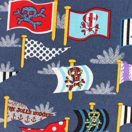 Tissu coton Pirate's flags gris bleu x 10cm