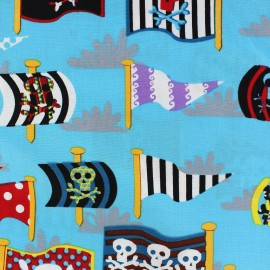 Tissu coton Pirate's flags turquoise x 10cm
