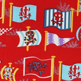 Tissu coton Pirate's flags rouge x 10cm