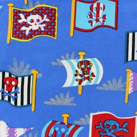 Pirate's flags cotton fabric - blue 10cm