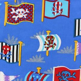 Tissu coton Pirate's flags bleu x 10cm