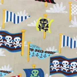 Tissu coton Pirate's flags beige x 10cm
