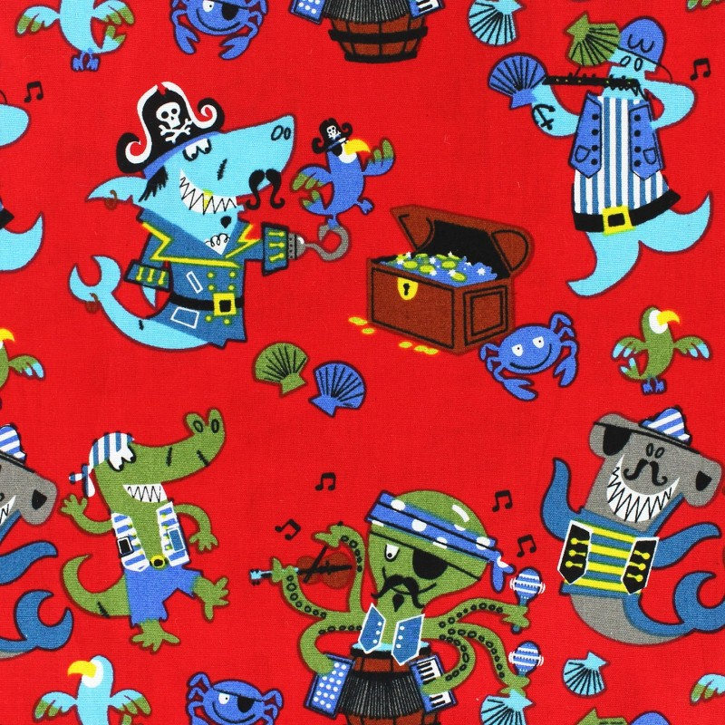 Tissus pas cher 100 coton tissu coton pirate 39 s party rouge for Kids pirate fabric