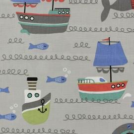 Tissu coton Lovely little sea gris x 10cm
