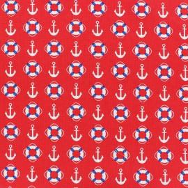 Tissu coton Mettre les voiles Ancre et bouée rouge x 10cm