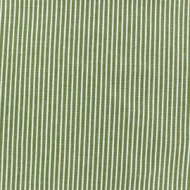 Tissu jeans à rayures blanches/vert x 10cm