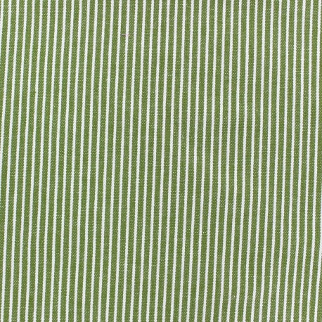 Stripes denim fabric - white/green x 10cm