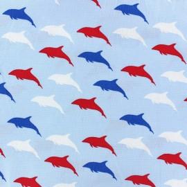 Tissu coton Mettre les voiles dauphin x 10cm