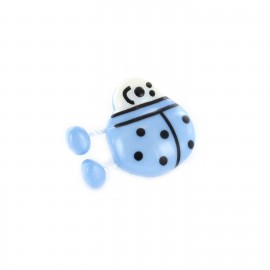 Polyester Button, ladybird spring - light blue