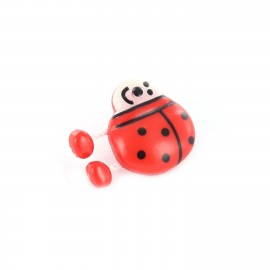 Polyester Button, ladybird spring - red
