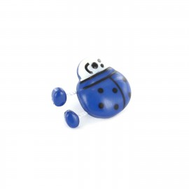 Polyester Button, ladybird spring - blue