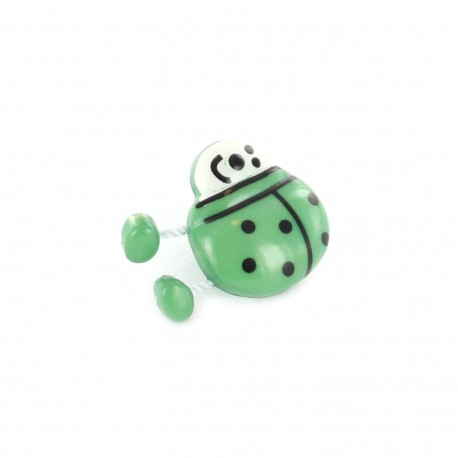 Bouton Polyester Spring Coccinelle vert
