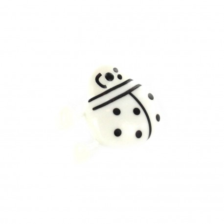 Polyester Button, ladybird spring - white