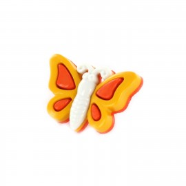 Polyester Button, butterfly spring- orange