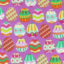 Tissu coton Happy Easter mauve x 10cm