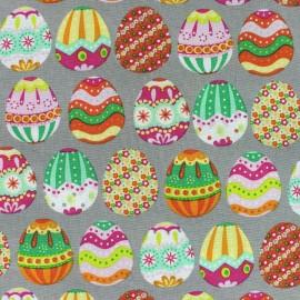 Tissu coton Happy Easter gris x 10cm