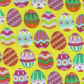 Tissu coton Happy Easter jaune x 10cm