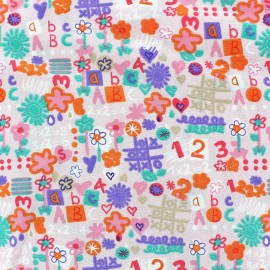 Tissu coton Back to school rose x 10cm