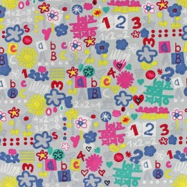 Tissu coton Back to school gris x 10cm