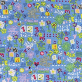 Tissu coton Back to school bleu x 10cm