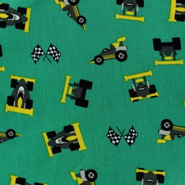 Tissu coton Formule 1 vert x 10cm