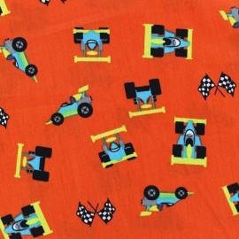 Tissu coton Formule 1 orange x 10cm