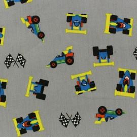 Tissu coton Formule 1 gris x 10cm