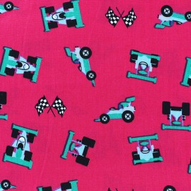 Tissu coton Formule 1 fuchsia x 10cm
