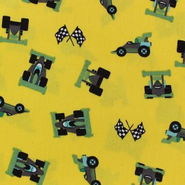 Tissu coton Formule 1 jaune x 10cm