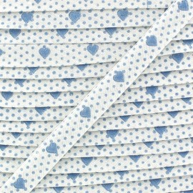 Biais replié imprimé petits coeurs bleu