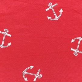 Tissu Jersey ancres rouge x 10cm