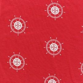 Tissu Jersey gouvernail rouge x 10cm