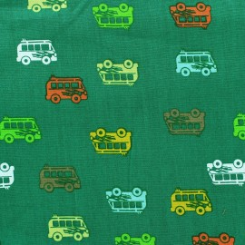 Tissu coton Autocar vert x 10cm