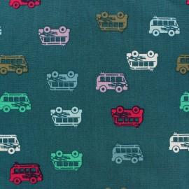 Tissu coton Autocar bleu paon x 10cm