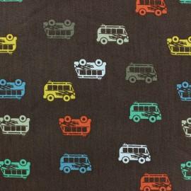 Tissu coton Autocar marron x 10cm
